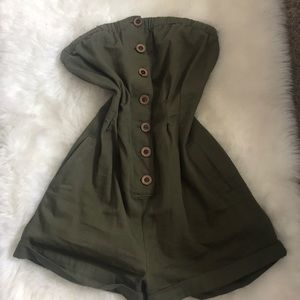 Green button up romper